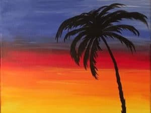 Painting of a sunset and palm tree